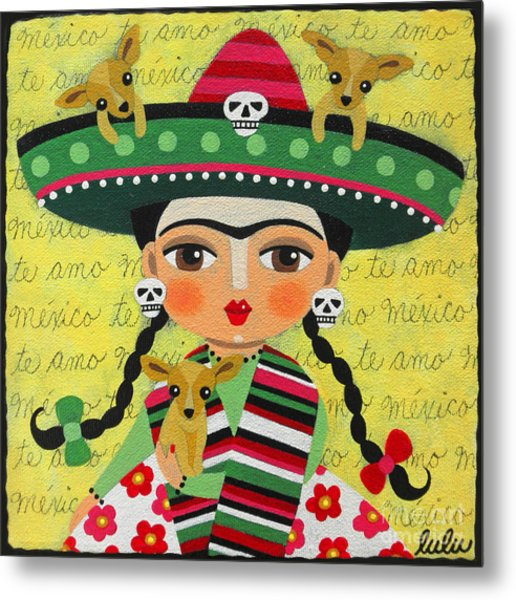 Frida Kahlo With Sombrero And Chihuahuas Metal Print