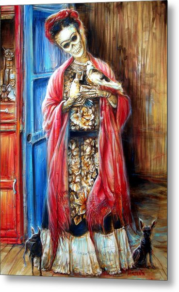 Frida With Doves Metal Print