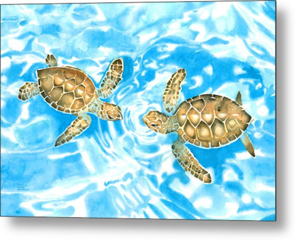 Friends Baby Sea Turtles Metal Print
