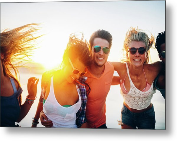 Friends Dancing On Beach In Sunset Metal Print by Wundervisuals