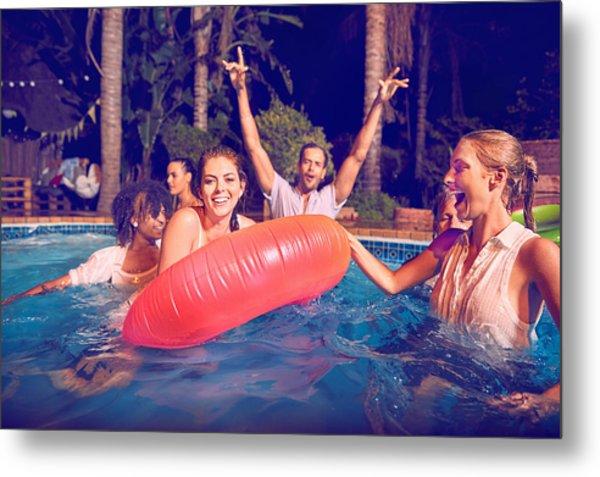 Friends Swimming At Pool Party Metal Print by Django