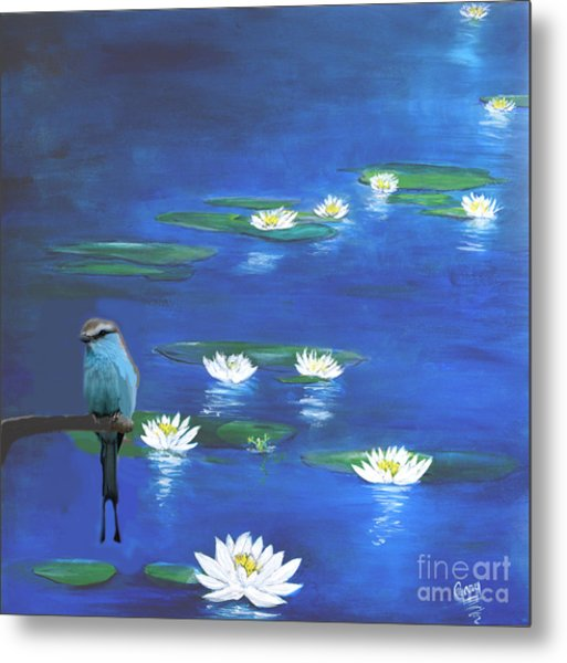 Frog And The Bluebird Metal Print