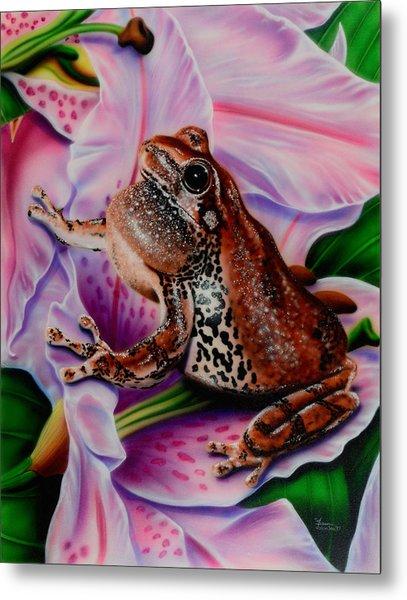 Frog Flower Metal Print