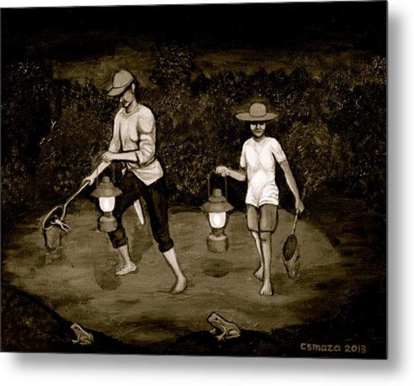 Frog Hunters Black And White Photograph Version Metal Print