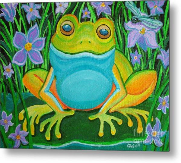 Frog On A Lily Pad Metal Print