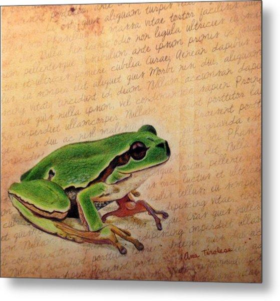 Frog On Paper Metal Print