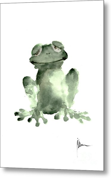 Frog Painting Watercolor Art Print Green Frog Large Poster Metal Print