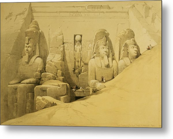 Front Elevation Of The Great Temple Of Aboo Simbel Metal Print