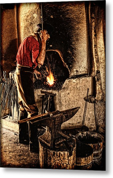 Frontier Blacksmith At The Forge Metal Print