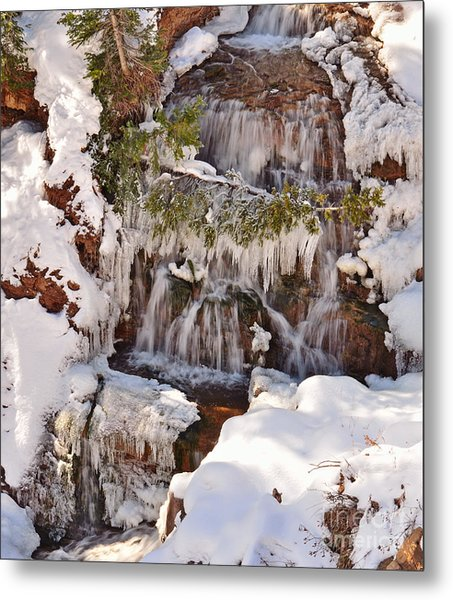 Frosty Cascades Metal Print