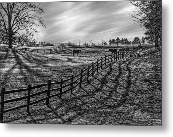Frosty Corral At Dawn Metal Print