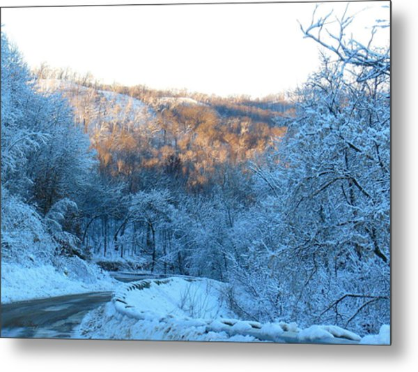 Frosty Descent Metal Print