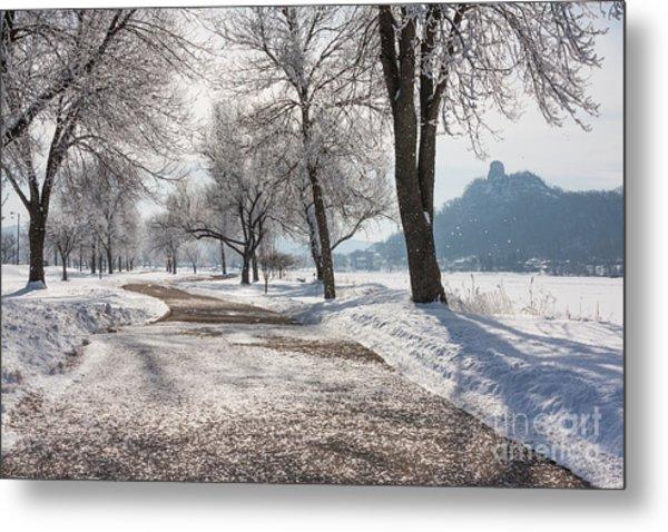 Frosty Stroll With Sugarloaf Metal Print
