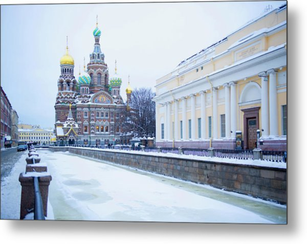 Frozen Canal Near Church Of The Savior Metal Print by Jacobs Stock Photography Ltd