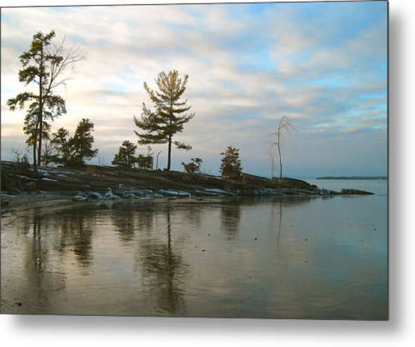 Frozen Lake At Dusk Metal Print