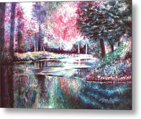 Metal Print featuring the painting Frozen Pond by Lynn Buettner