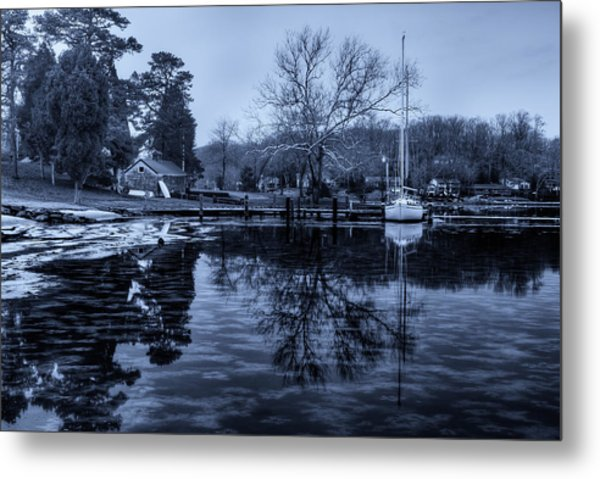 Frozen Sailboat And Cloudy Ice Metal Print