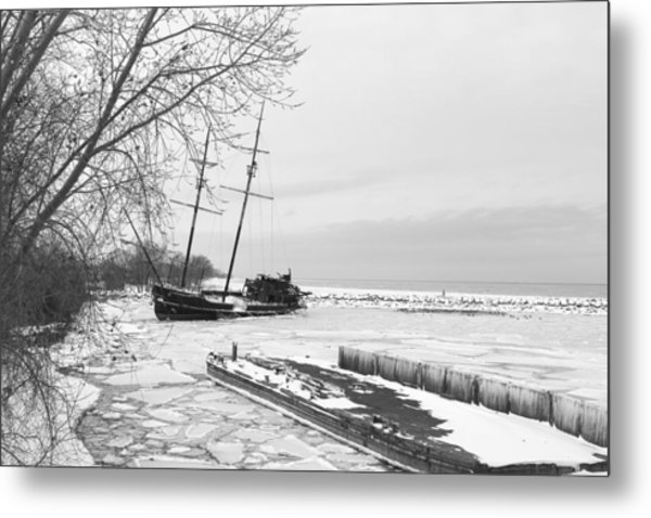 Frozen Tall Ship Metal Print