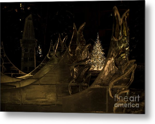 Frozen Waves And Xmas Tree Metal Print