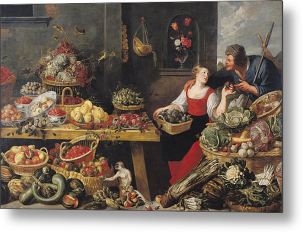 Fruit And Vegetable Market Oil On Canvas Metal Print