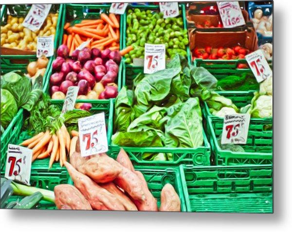 Fruit And Vegetable Stall Metal Print