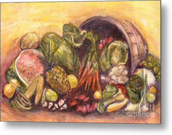 Fruit And Veggie Basket Metal Print by Jodie  Scheller