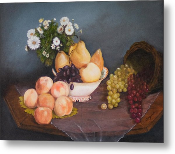 Fruit On Table Metal Print by Virginia Butler