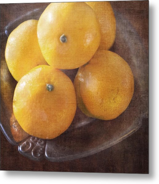 Fruit Still Life Oranges And Antique Silver Metal Print