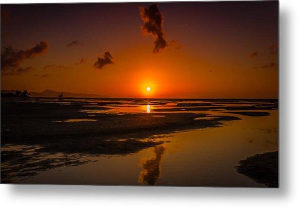 Fuerteventuera Beach Sunrise Reflections Metal Print