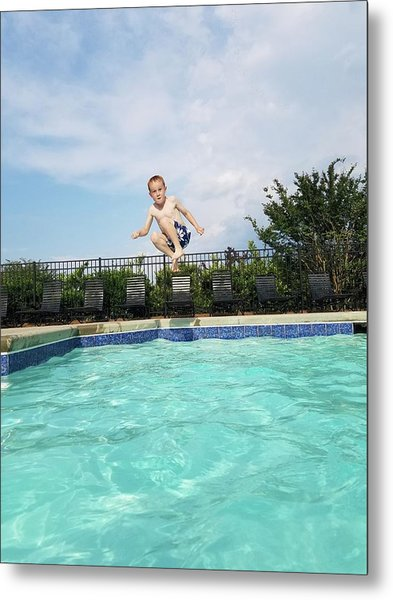 Full Length Portrait Of Boy Jumping Metal Print