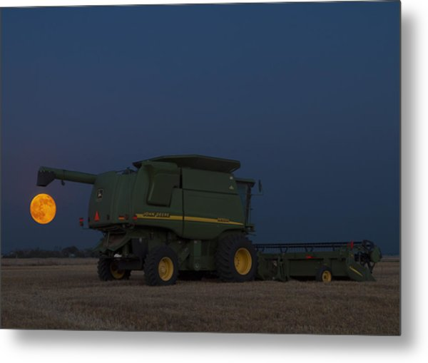 Full Moon And Combine Metal Print