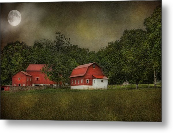 Full Moon At Buffalo Hollow Farm Metal Print