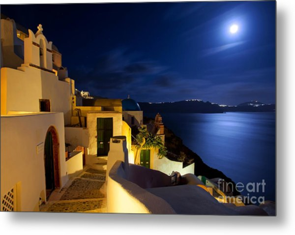 Full Moon At Santorini Metal Print