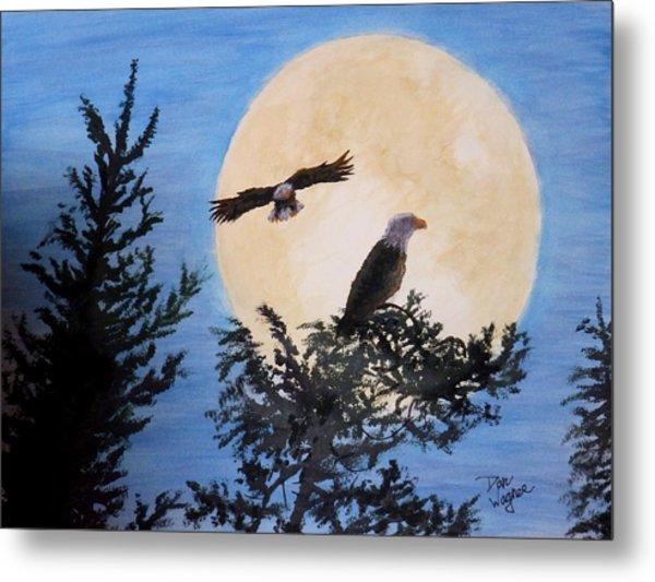 Full Moon Eagle Flight Metal Print
