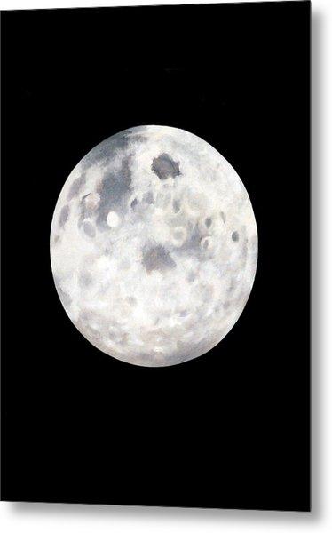 Full Moon In Black Night Metal Print