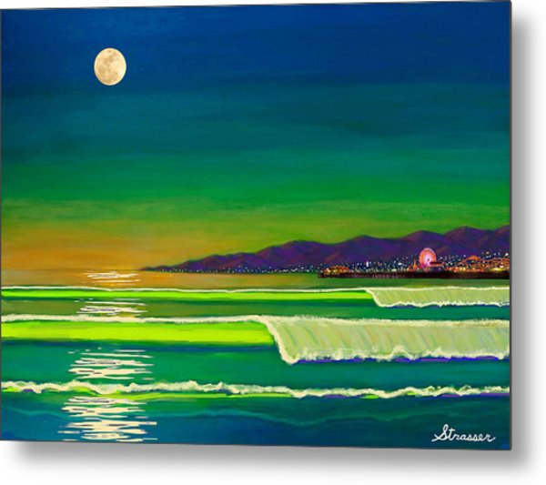 Full Moon On Venice Beach Metal Print