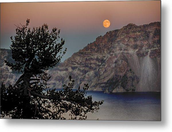 Full Moon Over Crater Lake Metal Print