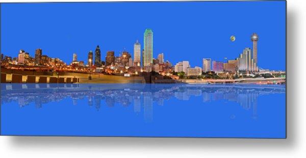 Full Moon Over Dallas Reflected Metal Print