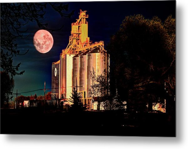 Full Moon Over Elevator Metal Print