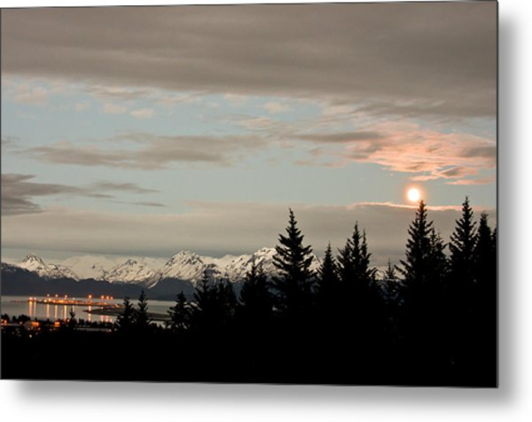 Full Moon Over Homer Alaska Metal Print
