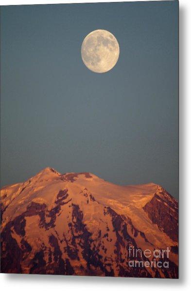 Full Moon Over Mount Rainier Metal Print