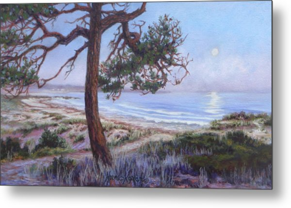 Full Moon Over Pebble Beach Metal Print