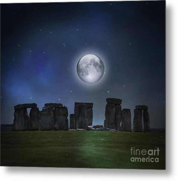 Full Moon Over Stonehenge Metal Print