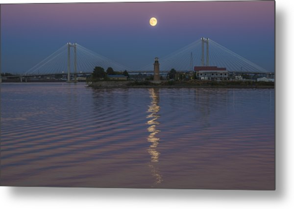 Full Moon Over The Cable Bridge Metal Print