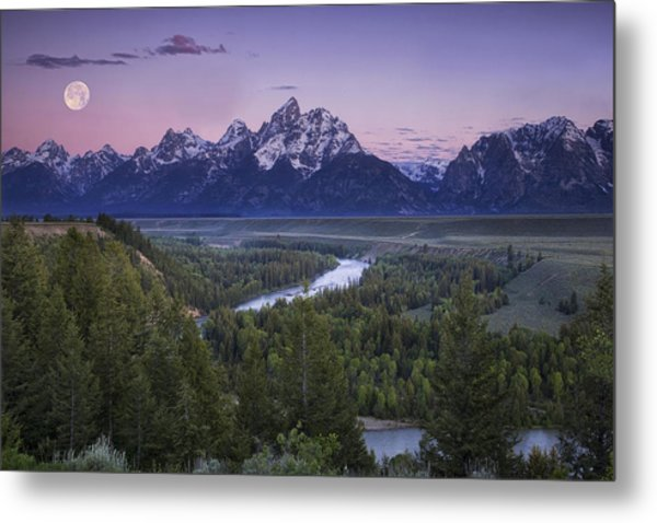 Full Moon Over The Mountains Metal Print