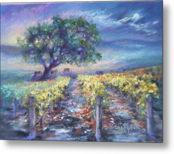 Full Moon Over The Vineyard Metal Print