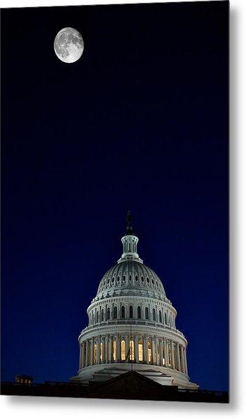 Full Moon Over Us Capitol Metal Print