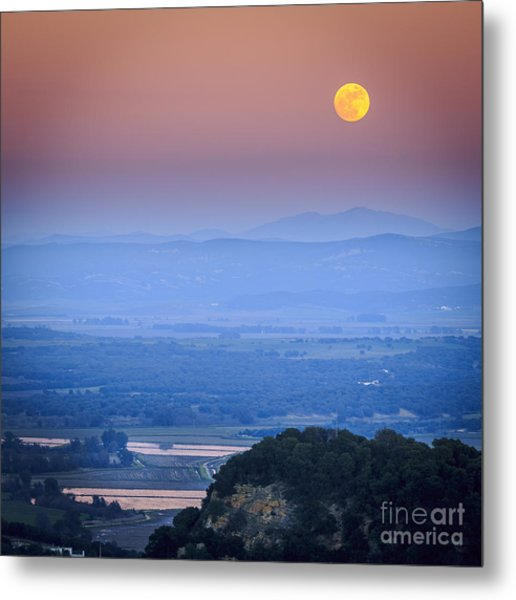 Full Moon Over Vejer Cadiz Spain Metal Print
