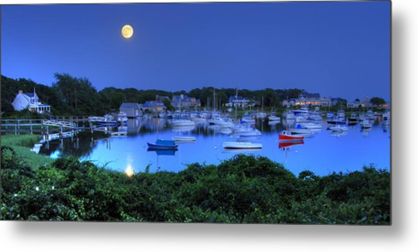 Full Moon Over Wychmere Harbor Metal Print by Ken Stampfer