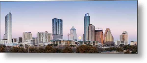 Full Moon Rising Behind Downtown Austin Skyline Texas Metal Print